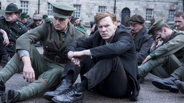 Brian Gleeson (right) in a scene from RTE's drama, Rebellion