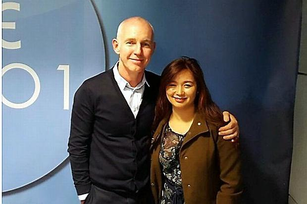 Ray D'Arcy with Grace Sampang, who had her rent returned