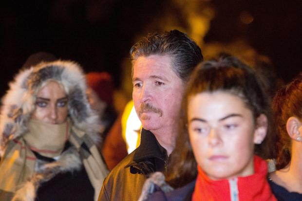 Actor Michael Collins of Glenroe fame pictured at The Glenamuck Rd Candle Lit Vigil last night.