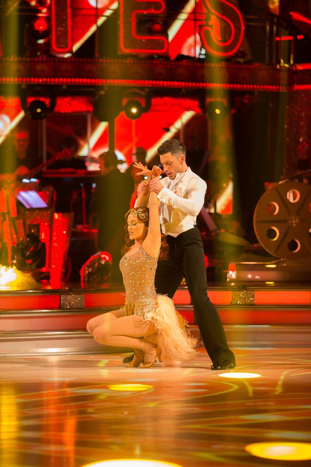 Laura Whitmore with her dance partner Giovanni Pernice during Saturday's live edition of the BBC1 show, Strictly Come Dancing