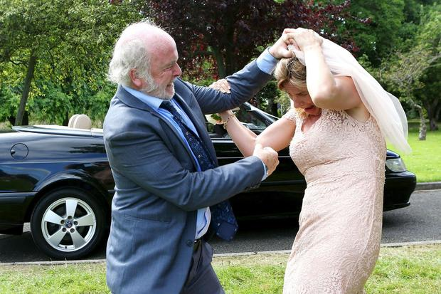 Carol is assaulted by her estranged father Trigger in the harrowing wedding scene on Fair City