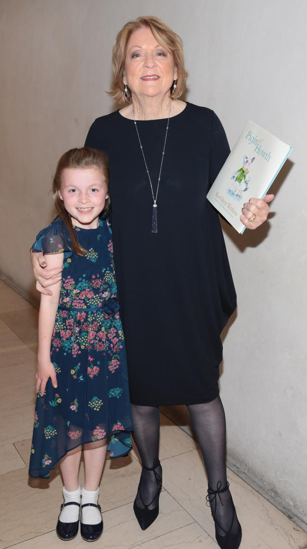 Kathleen Watkins' with her granddaughter Saoirse at the launch of Kathleen's new children's book, Pigín of Howth, at The National Gallery of Ireland