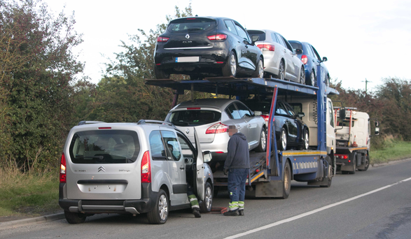 Vehicles are removed from South Dublin Picture: Collins