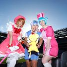 Juli Neeson (pink hat) as Sakura from Cardcaptors, Rachel Ralph (light blue hair) Kirenshi Cosplay as Hatsune Miku and Saturn (purple hair)13 Cosplay as Rei Ayanami from Evangelion. Sasko Lazarov/Photocall Ireland