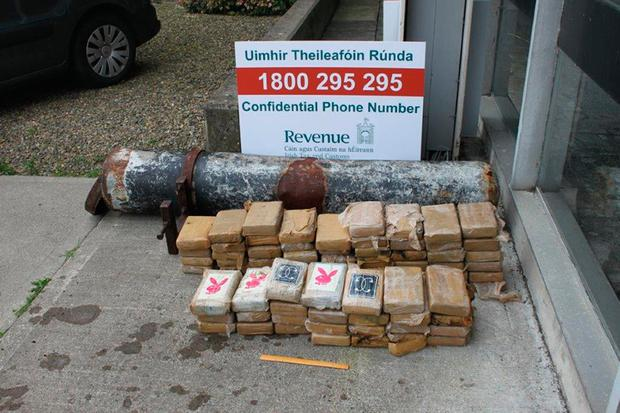 The cocaine haul is put on display by gardai. Photo: Irish Revenue Customs Service/PA Wire