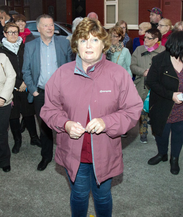 Local Resident Joyce Reid speaks at a protest at Park Terrace in The Liberties against a local community centre being turned into a homeless hostel.