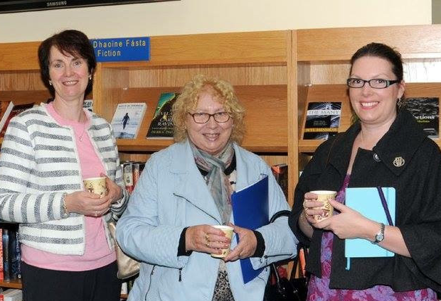 Librarian Helen Corcoran with writers Margaret Maguire and Aisling Doonan, whose work is in Scriobh Scribbles