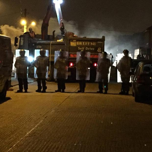 Garda Public Order Unit officers on patrol in Finglas for Halloween night