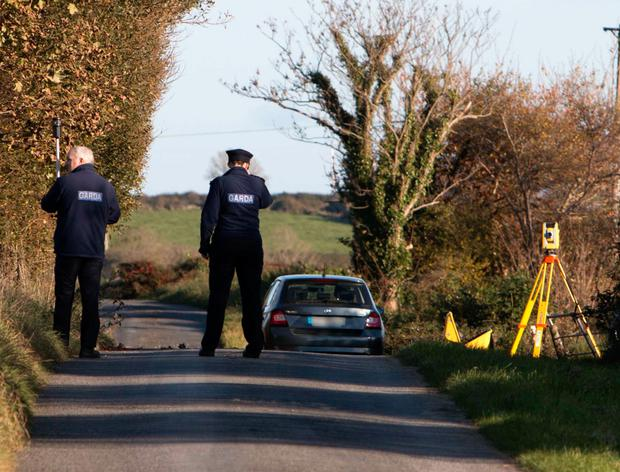 Gardai at the death scene