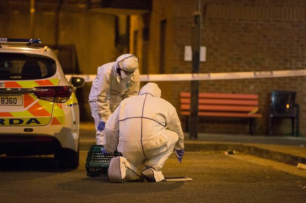 Gardai at the scene of the fatal attack off Cork Street in Dublin