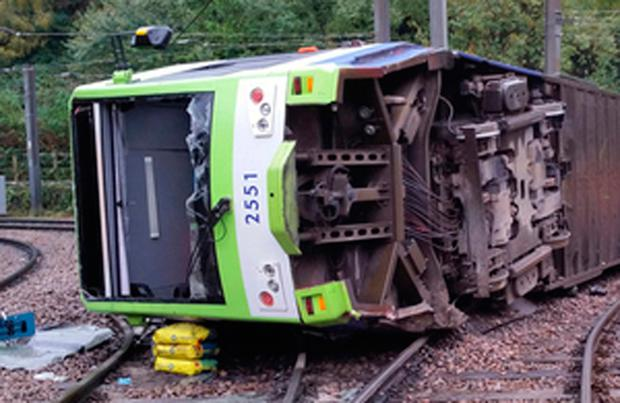 Photo issued by the Rail Accident Investigation Branch of the tram which derailed near the Sandilands stop in Croydon