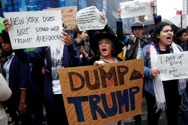 Protesters against Donald Trump outside Trump Tower