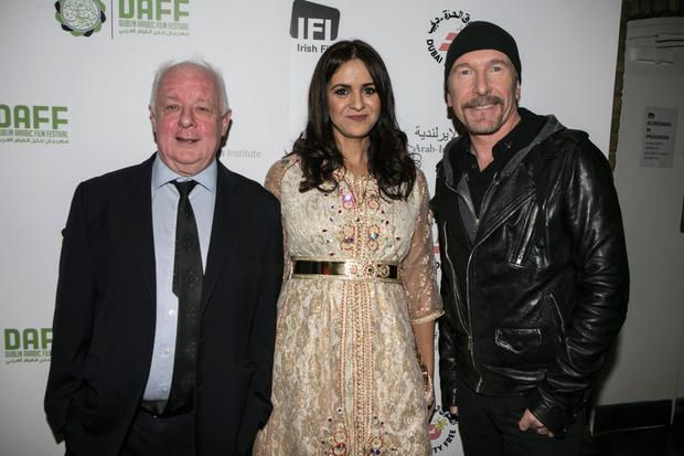 Director Jim Sheridan, festival director Zahara Moufid and U2's Edge pictured at the Dublin Arabic Film Festival Picture: Kyran O'Brien