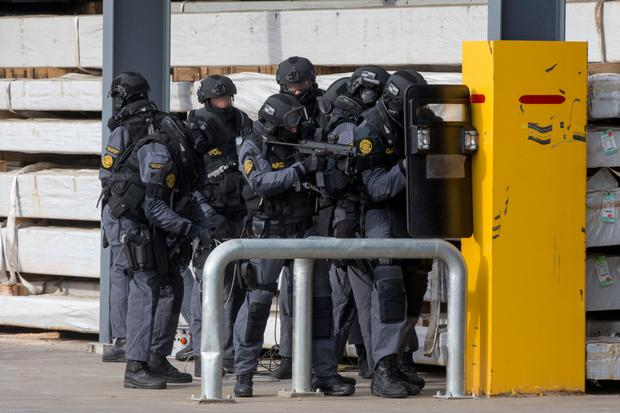 The Garda Emergency Response Unit has taken part in emergency training exercises at Drogheda Port Picture: Colin O'Riordan