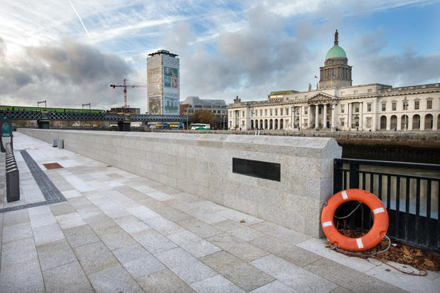 New flood defence wall at Sir John Rogerson's Quay