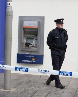 Gardai at the scene of the ATM robbery at the Permanent TSB branch in Greystones, Co Wicklow