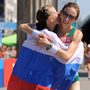 Olive Loughnane is congratulated by Kaniskina at the finish