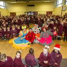 Al Porter and the cast at the school in Ballymun
