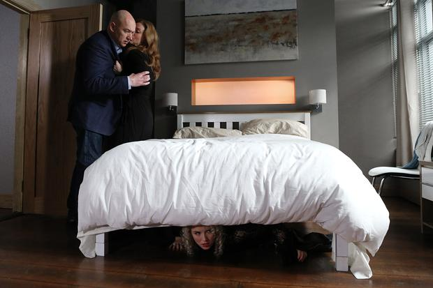 Niamh and Paul get intimate while Hayley is hiding under the bed