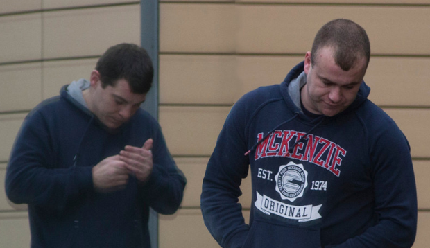 Karl Fogarty (left) and Darren Bryan claimed that they were looking for their dog when caught trespassing
