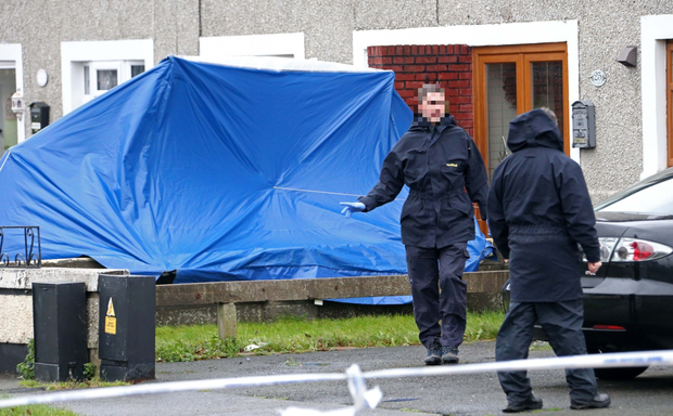 Gardai at the scene of the latest gun murder in west Dublin
