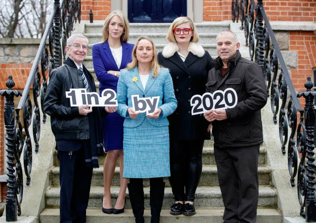 Cancer survivor Cormac Clancy, lecturer Dr Antoinette Perry, Grainne O'Rourke of the ICS, and survivors DJ Louise McSharry and rugby player Tony Ward at the campaign launch. Photo: Andres Poveda/Andres Poveda Photography Ltd