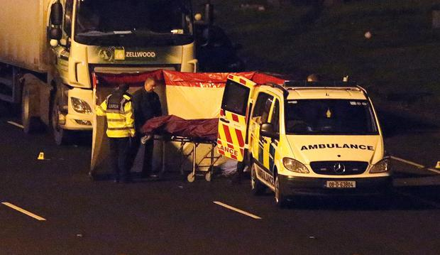 Emergency services at the scene of the incident on the M50. Photo: Damien Eagers/INM