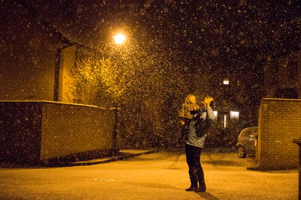 Snow falling in North County Dublin Picture: Mark Condren