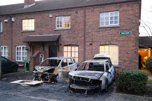 Cars destroyed by fire at Tomar Court, Arbour Hill