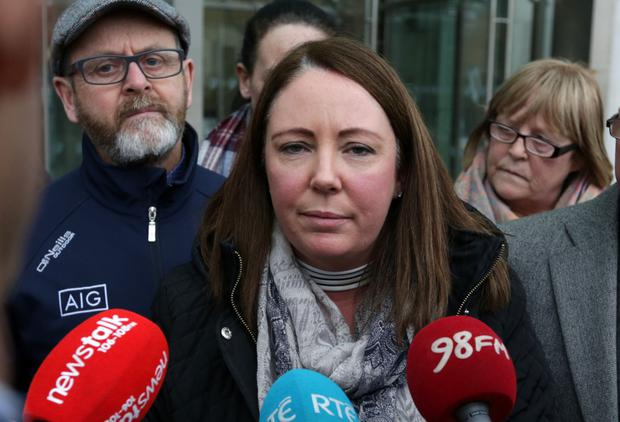 Edward Fitzgerald's sister Nicola O'Dea speaks to the media outside the Central Criminal Court in Dublin after her brother's killer, William Gilsenan, was jailed for four years for manslaughter