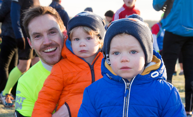 Niall Hanley (top) turned out for the Parkrun with his twins Luca and Rhys