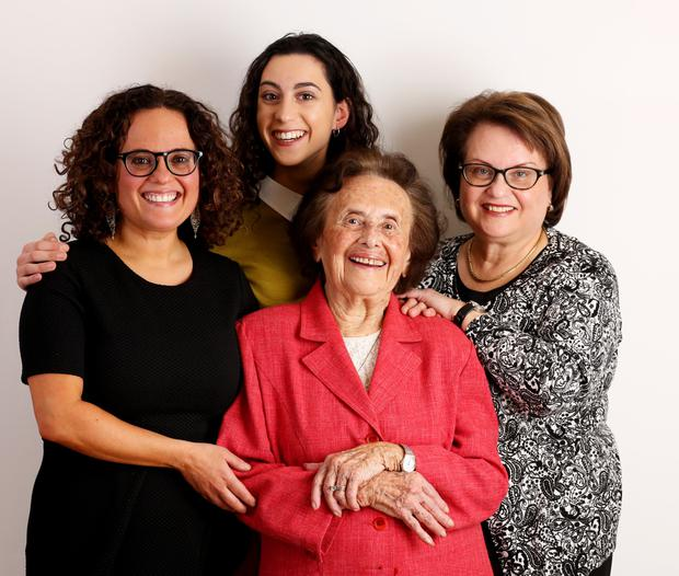 Lily (front) with (left to right) granddaughter Nina, great-granddaughter Orli and daughter Bilha