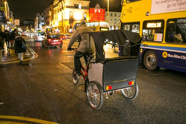 A rickshaw in the city centre