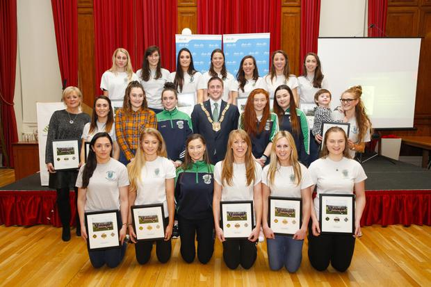 Sinead Goldrick (front, far left) and teammates from the Foxrock-Cabinteely team with Cathaoirleach of Dun Laoghaire-Rathdown County Council Cormac Devlin