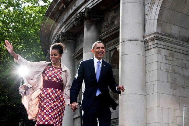 Michelle and Barack Obama in Dublin in 2011
