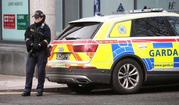 A member of the garda Armed Support Unit on Foley Street