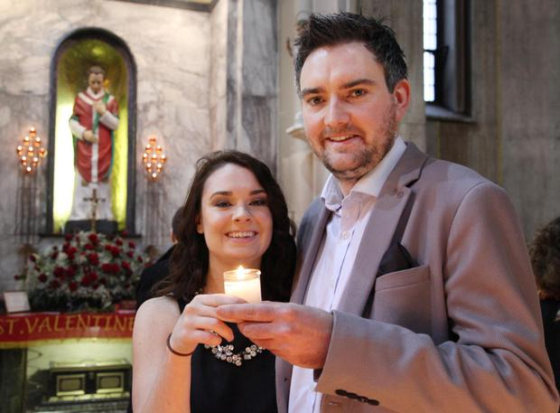 Happy couple Carol Dignam and Tim Boylan at the Shrine of St Valentine