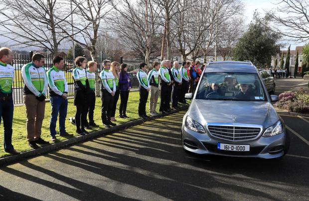 Cyclists form a guard of honour at the funeral of Tonya McEvoy Picture: Colin Keegan