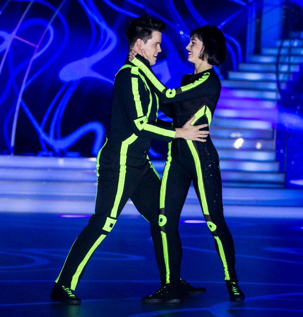 Dayl Cronin with Valeria Milova dancing a Salsa to give me everything by pitfall featuring Ne-yo,Afrojack ,during the Switch up week in Dancing with the Stars.