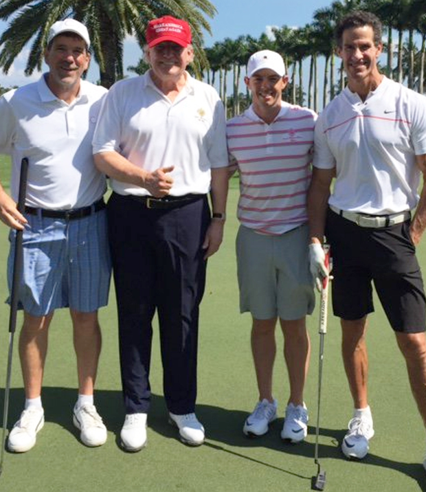 Players (from left) Garry Singer, Donald Trump, Rory McIlroy and former baseball star Paul O'Neill
