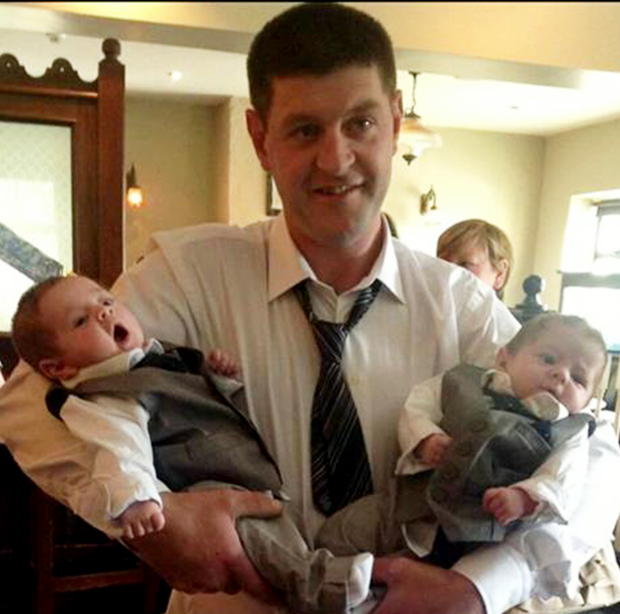 Sean Maher with his twin boys Harry and Ralph shortly after they were born