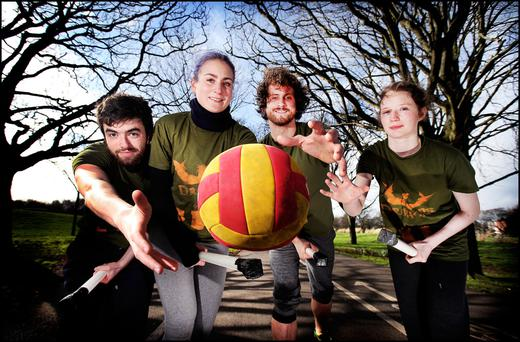 Eamon O'Keeffe from Marino, Martina Brazdova from Milltown Dublin, Jake Gomrick from East Wall and Bláthnaid Cluskey from Marino playing Quidditch from the fantasy world of Harry Potter in Fairview Park.