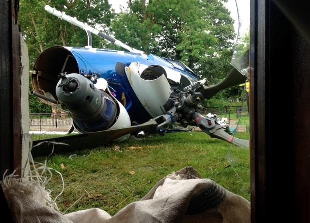The helicopter was destroyed in seconds in the crash in 2015