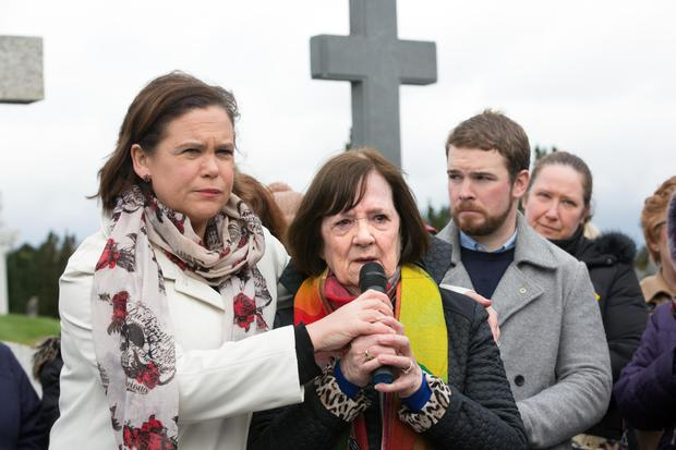 Sinn Fein's Mary Lou McDonald with Magdalene laundry survivor Mary Merritt during the sixth commemoration at Glasnevin Cemetery