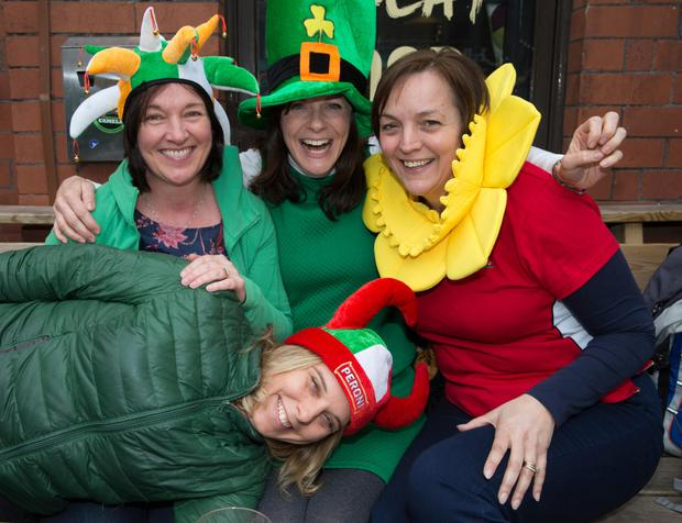 Patricia Carr and Hilary Carey-Baker from Dublin with Welsh fan Claire Lane and Italian fan Mariangela Simonado
