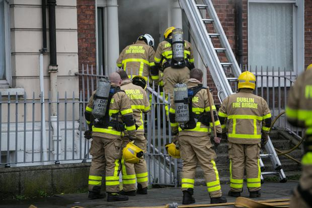 Firefighters tackle the fire on Mountjoy Square