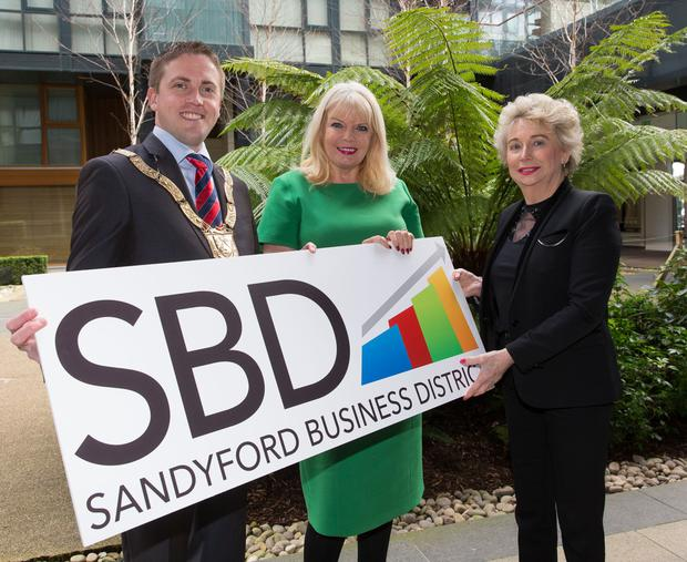 Mary Mitchell O'Connor (centre) with Cllr Cormac Devlin and Sharon Scally, of Sandyford Business Improvement District Pic: Peter Cavanagh