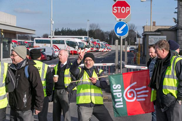 Bus Eireann workers on the picket line at the Broadstone depot