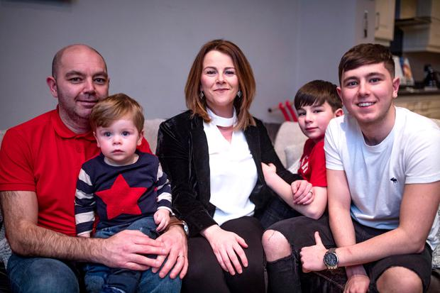 Shauna Lawlor with husband Jason and sons Zach (20 months), Nathan and Ryan