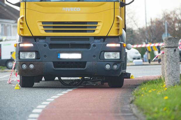 The woman's bicycle was left jammed underneath the lorry. Photo: Arthur Carron